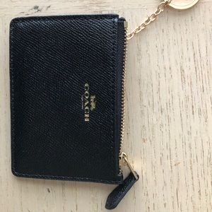 Coach wallet with gold zipper & key ring chain